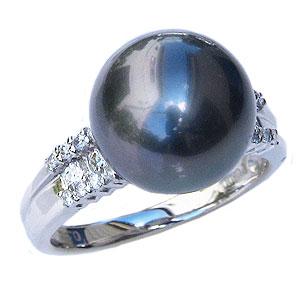リング パール 指輪 黒真珠パール ホワイトゴールド リング ダイヤモンド