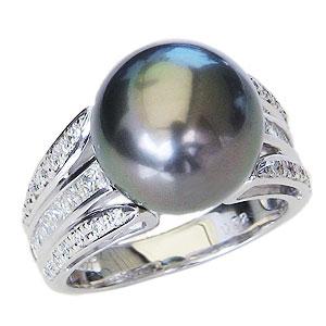 リング パール 指輪 黒真珠パール ホワイトゴールド リング ダイヤモンド 指輪