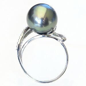パール:リング:真珠:指輪:タヒチ黒蝶真珠:ブラックパール:真珠の直径:約12mm:ダイヤモンド:0.37ct:K18WG:ホワイトゴールド