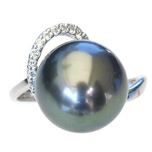 パール:リング:真珠:指輪:タヒチ黒蝶真珠:ブラックパール:真珠の直径:約12mm:ダイヤモンド:0.11ct:Pt900:プラチナ