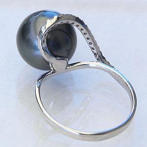 パール:リング:タヒチ黒蝶真珠:真珠:指輪:グリーン系:黒真珠:ブラックパール:11mm:ホワイトゴールド:K18WG:ダイヤモンド:0.15ct:18金