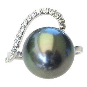 パール:リング:真珠:指輪:タヒチ黒蝶真珠:ブラックパール:真珠の直径:約12mm:ダイヤモンド:0.13ct:K18WG:ホワイトゴールド