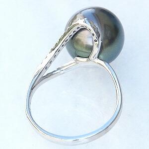 パール リング タヒチ黒蝶真珠 真珠 指輪 ブラックパール グリーン系 黒真珠 12mm k10ホワイトゴールド ダイヤモンド