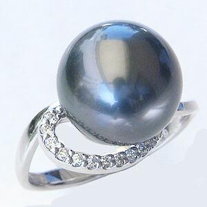 パール:リング:真珠:指輪:タヒチ黒蝶真珠:ブラックパール:真珠の直径:約11mm:ダイヤモンド:0.09ct:Pt900:プラチナ