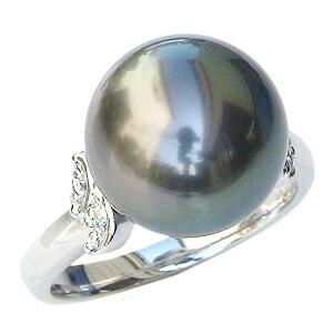 パール:リング:真珠:指輪:タヒチ黒蝶真珠:ブラックパール:真珠の直径:約12mm:ダイヤモンド:0.10ct:プラチナ:PT900