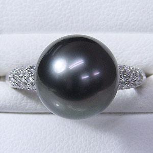 リング パール 指輪 黒真珠パール ホワイトゴールドリング ダイヤモンド