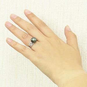 真珠:指輪:パール:リング:タヒチ黒蝶真珠:11mm:グリーン系:ダイヤモンド:0.26ct:プラチナ:PT900