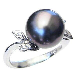 パール:真珠:指輪:タヒチ黒蝶真珠:12mm:PT900:プラチナ:ダイヤモンド:0.04ct:黒真珠:ブラックパール:リング