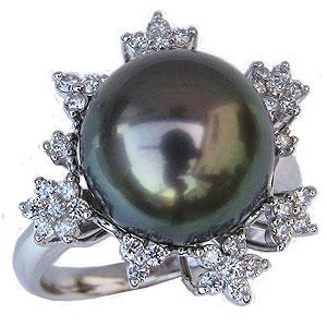 ブラックパールリング 真珠指輪 PT900 プラチナ タヒチ黒蝶真珠 12mm ダイヤモンド付
