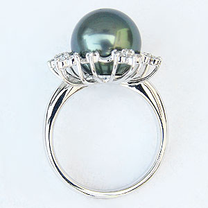 ブラックパールリング 真珠指輪 PT900 プラチナ タヒチ黒蝶真珠 11mm ダイヤモンド付