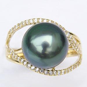 ブラックパール リング 黒真珠 指輪 ダイヤモンド 0.22ct K18 ゴールド パールリング タヒチ黒蝶真珠 11mm