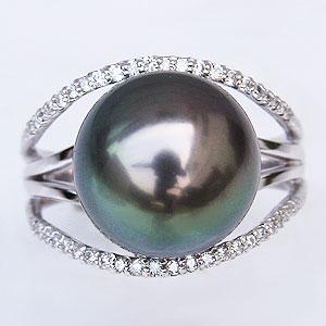 ブラックパールリング 黒真珠 指輪 ダイヤモンド 0.22ct ホワイトゴールド K18WG 真珠 パール タヒチ黒蝶真珠 12mm