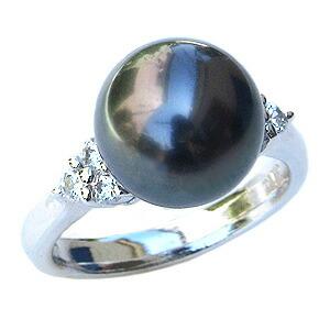 真珠:ブラックパール:指輪:タヒチ黒蝶真珠:10mm:グリーン系:黒真珠:ダイヤモンド:0.24ct:K18WG:ホワイトゴールド:リング
