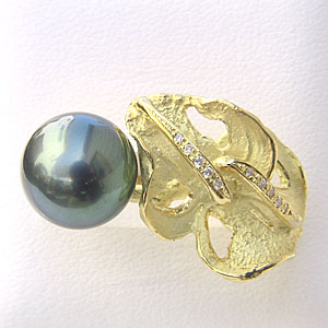黒真珠:パール:リング:タヒチ黒蝶真珠:グリーン系:11mm:ブラックパール:ダイヤモンド:0.05ct:K18:ゴールド:18金:指輪