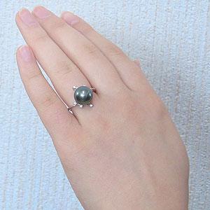 黒真珠:ブラックパール:リング:タヒチ黒蝶真珠:11mm:グリーン系:ダイヤモンド:0.06ct:PT900:プラチナ:パール:真珠:指輪