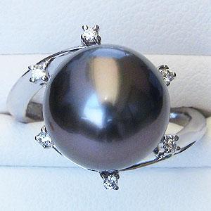 黒真珠:ブラックパール:リング:タヒチ黒蝶真珠:12mm:グリーン系:ダイヤモンド:0.06ct:PT900:プラチナ:真珠:指輪:パール