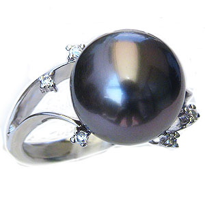 真珠:ブラックパール:指輪:タヒチ黒蝶真珠:12mm:グリーン系:黒真珠:ダイヤモンド:0.06ct:K18WG:ホワイトゴールド:リング