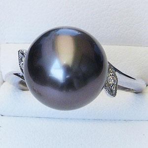 真珠:ブラックパール:指輪:タヒチ黒蝶真珠:12mm:グリーン系:黒真珠:ダイヤモンド:0.02ct:K18WG:ホワイトゴールド:リング