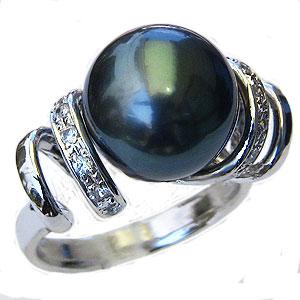 黒真珠:ブラックパール:リング:タヒチ黒蝶真珠:11mm:グリーン系:ダイヤモンド:0.16ct:K18WG:ホワイトゴールド:指輪