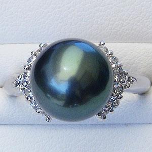 黒真珠:ブラックパール:リング:タヒチ黒蝶真珠:11mm:PT900:プラチナ:ダイヤモンド:0.31ct:真珠:パール:指輪