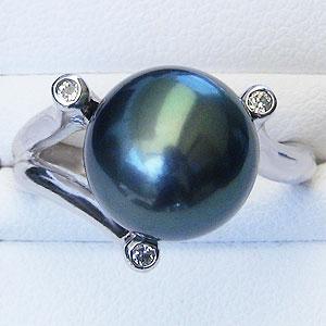 黒真珠:ブラックパール:リング:タヒチ黒蝶真珠:11mm:グリーン系:ダイヤモンド:0.08ct:K18WG:ホワイトゴールド:指輪