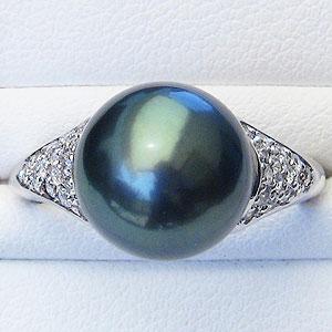 黒真珠:ブラックパール:リング:タヒチ黒蝶真珠:11mm:グリーン系:ダイヤモンド:0.30ct:K18WG:ホワイトゴールド:指輪
