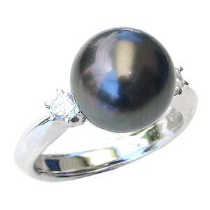 真珠:ブラックパール:指輪:タヒチ黒蝶真珠:8mm:グリーン系:黒真珠:ダイヤモンド:0.20ct:Pt900:プラチナ:リング