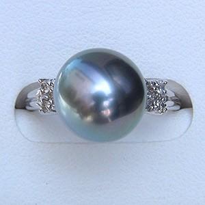 タヒチ黒蝶真珠:リング:ダイヤモンド:パール:ブルーグレー系