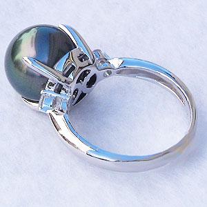真珠:ブラックパール:指輪:タヒチ黒蝶真珠:11mm:グリーン系:黒真珠:ダイヤモンド:0.10ct:K18WG:ホワイトゴールド:リング
