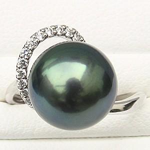 リング パール 指輪 黒真珠パール PT900プラチナ リング ダイヤモンド