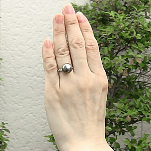 リング パール 指輪 黒真珠パール PT900プラチナリング