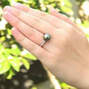 パール:タヒチ黒蝶真珠:ダイヤモンド0.12ct:K18WG:ホワイトゴールド:リング:グリーン系:11mm:ラウンド形