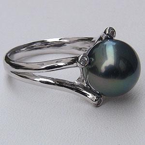 パール:真珠:指輪:黒真珠:11mm:ブラックパール:リング