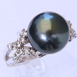 パール:タヒチ黒蝶真珠:指輪:ダイヤモンド0.33ct:K18WG:ホワイトゴールド:リング:グリーン系:11mm:ラウンド形