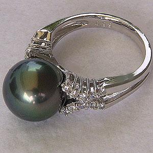 パール:タヒチ黒蝶真珠:指輪:ダイヤモンド0.33ct:PT900: