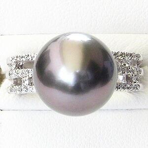 タヒチ黒蝶真珠:ダイヤモンド:0.26ct:K18WG:ホワイトゴールド:リング:レッドグリーン系:ラウンド形:12mm:指輪:ブラックパール指輪