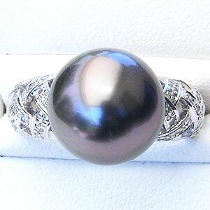 黒真珠:ブラックパール:リング:タヒチ黒蝶真珠:12mm:指輪:ダイヤモンド:0.30ct:PT900:プラチナ:真珠:パール
