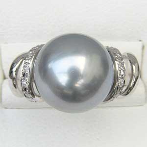リング パール 指輪 黒真珠パールリング PT900 プラチナ ダイヤモンド ジュエリー