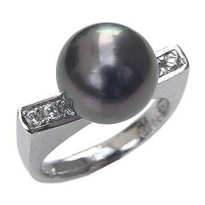真珠パール リング タヒチ黒蝶真珠 K18WG ホワイトゴールド ダイヤモンド 5石 0.17ct 真珠の径 10mm グリーン系 6月誕生石 指輪