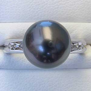 真珠パール リング タヒチ黒蝶真珠 K18WG ホワイトゴールド ダイヤモンド 6石 0.10ct 真珠の径 10mm グリーン系 6月誕生石 指輪