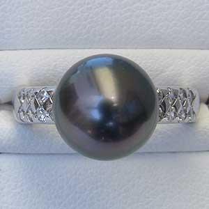 真珠パール リング タヒチ黒蝶真珠 K10WG ホワイトゴールド ダイヤモンド 16石 0.36ct 真珠の径 10mm グリーン系 6月誕生石 指輪