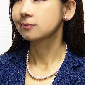 花珠真珠 ネックレス イヤリング ピアス セット 7mm-7.5mm 花珠鑑別書付き ゴールドクオリティ