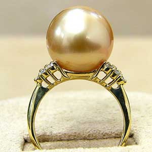 南洋白蝶真珠リング:ゴールド系:12mm