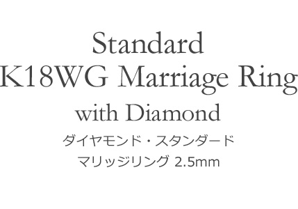 K18WG スタンダード・マリッジリング 2.5mm幅
