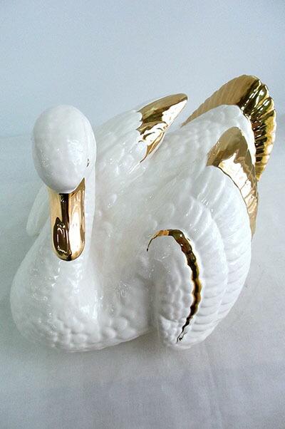 イタリア製 陶器  白鳥 スワン ホワイト&ゴールド