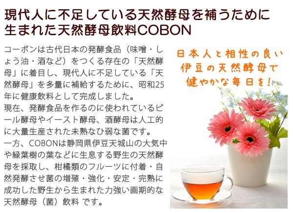現代人に不足している天然酵母を補うために生まれた天然酵母飲料COBON。日本人と相性の良い伊豆の天然酵母で健やかな毎日を!