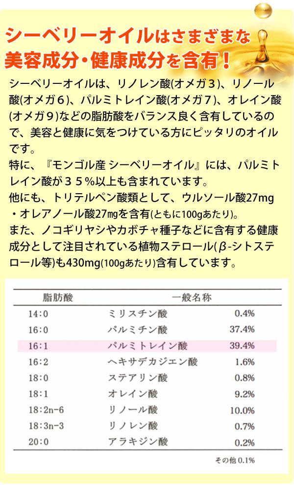 シーベリーオイルはさまざまな美容成分・健康成分を含有。特に、モンゴル産シーベリーオイルにあパルミトレイン酸が35%以上もふくまれています。