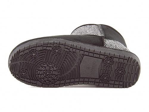 ショートブーツボアブーツぺたんこ歩きやすい疲れないレディース防寒HarrisTweedコレクションメランジェmelange757000ブラック