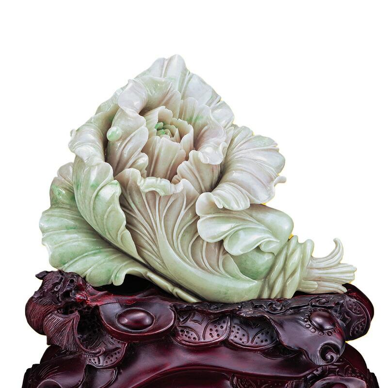 伍輝 ミャンマー本翡翠彫一石彫『巨富百財』