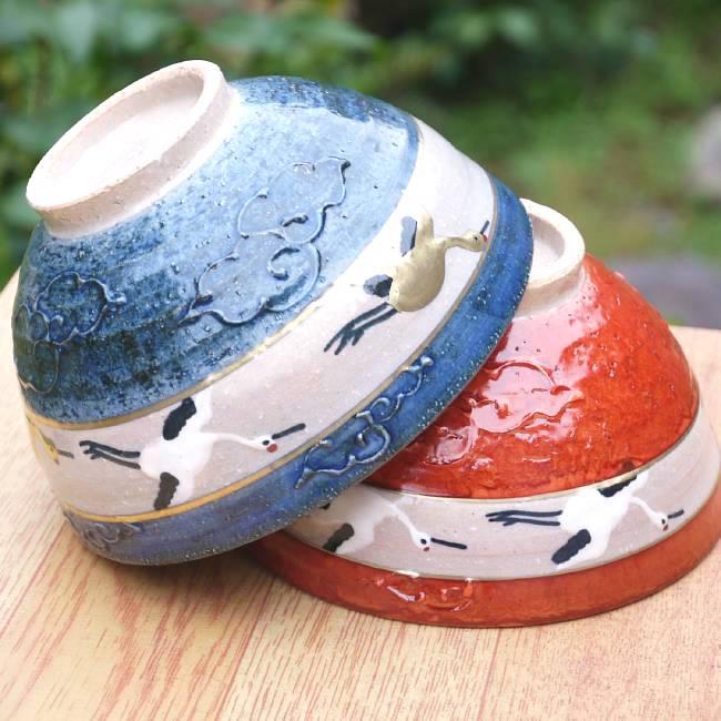 清水焼鶴夫婦茶碗